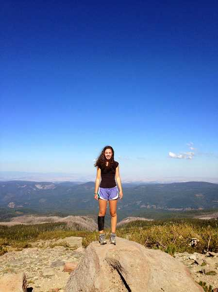 by: SUBMITTED PHOTO - Megan Larkin loves the outdoors, recently hiking the Pacific Crest Trail, enjoying the view of Mt. Hood.