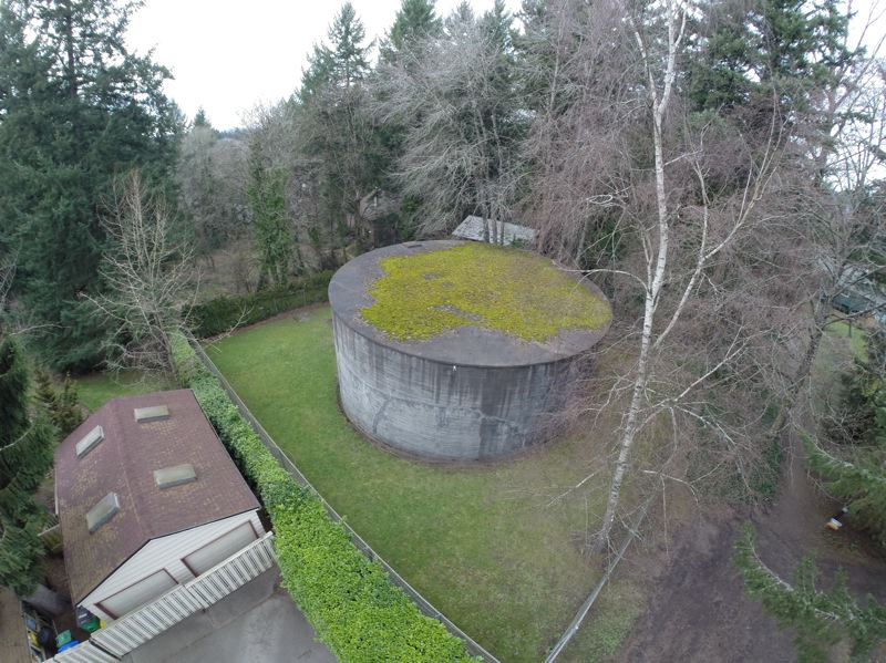 by: COURTESY OF ALVARO FONTAN - An aerial view shows the Freeman water tank site in the Southwest Portland neighborhood.
