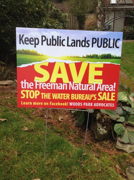 by: COURTESY OF ALVARO FONTAN - Neighbors of the Freeman water tank site have signs in their front yards opposing a city plan to sell the property to a developer.