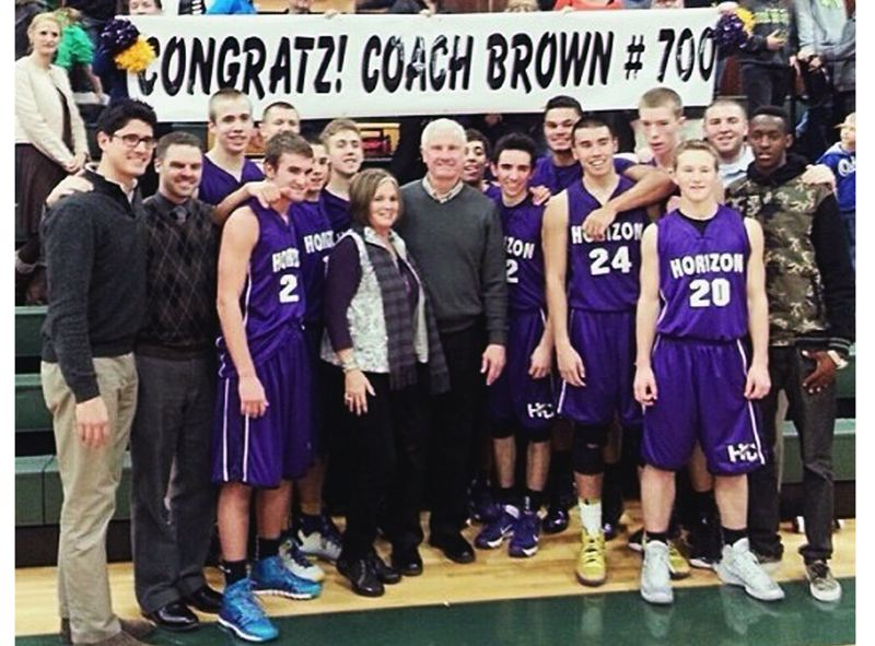 by: SUBMITTED PHOTO - MILESTONE WIN -- Horizon Christian coach Dave Brown celebrates with players, coaches and family after the Hawks won at Colton on Friday. It was Brown's 700th career coaching victory.