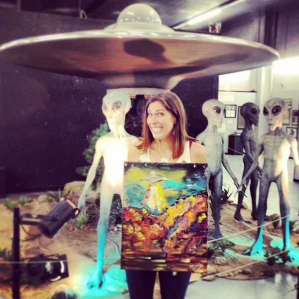by: COURTESY OF JEN HARLOW - Yup, this is the painting that Jen Harlow sold to the UFO Museum in Roswell, N.M. during a trip across the country.