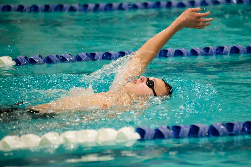 by: GREG ARTMAN - Wilsonville freshman Chris Glaess won the boys 200-yard individual medley and 100 backstroke races Jan. 23 in a dual meet against Parkrose in Portland.