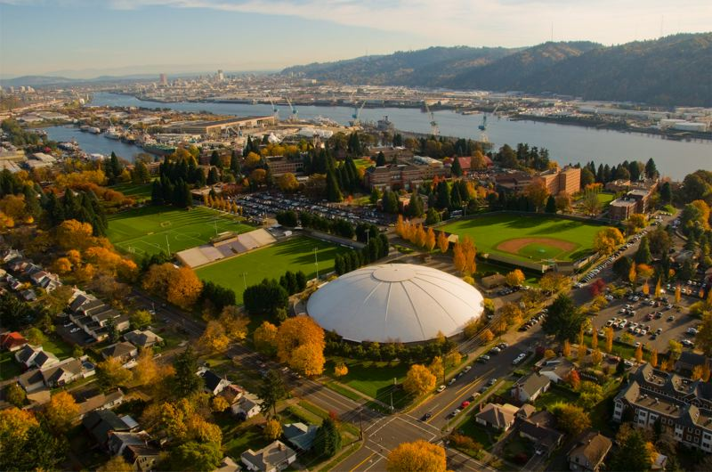 by: UNIVERSITY OF PORTLAND - The Universty of Portland is located along the Willmatte River in North Portland.