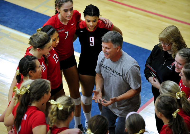 by: JOHN LARIVIERE - Jim Stultz, pictured talking with his Clackamas High School players during the 2012 Class 6A State Championship Tournament, is retiring from coaching high school volleyball after 29 seasons. His high school varsity teams at Clackamas, Centennial, La Salle Prep and Mt. Hood Christian School had a combined win-loss record of 595-226, making him the sixth all-time winningest coach in the history of Oregon high school volleyball.