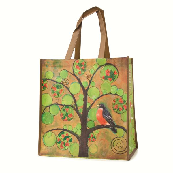 by: SUBMITTED PHOTO - Blenda Tyvoll's illustration of a chipper little robin sitting on a branch was chosen as this years Market of Choice shopping bag.