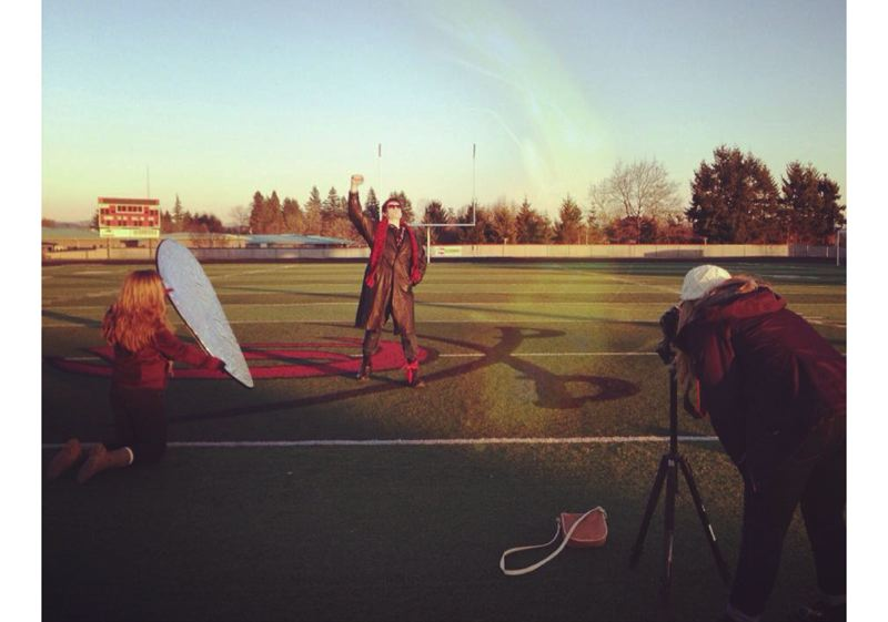 by: PHOTO COURTESY: HOPE ALEXANDER - Despite the freezing temperatures, Katharine Yates (from left) Ryan Coyle and Hope Alexander filmed the ending scene of their version of 'The Breakfast Club' at Clackamas High School.