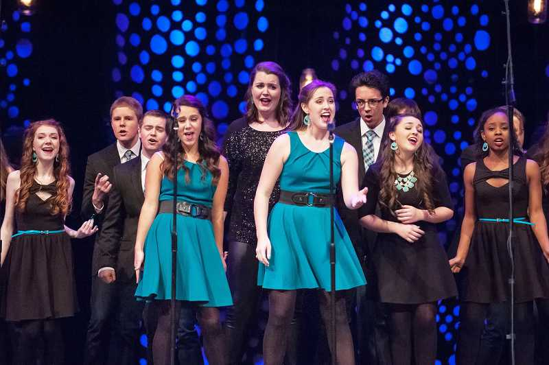 by: SPOKESMAN PHOTO: JOSH KULLA - Wilsonville High senior Rachel Hawkins, front right, earned an award for best choreography Saturday at the ICHSA Western Semifinals at Rolling Hills Church.