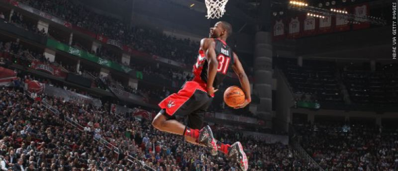 by: COURTESY OF NBA - Terrence Ross captures the 2013 NBA Slam Dunk Contest.