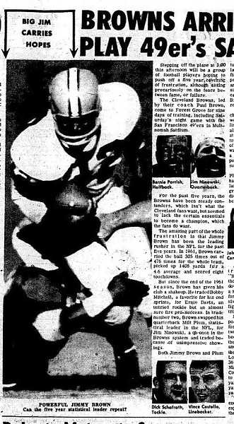 by: NEWS-TIMES FILE PHOTO - The News-Times of Aug. 23, 1960, featured a story on the Cleveland Browns arrival in Forest Grove for a nine-day training camp that included a practice game with the San Francisco 49ers. Locals were thrilled to watch the teams legendary Jim Brown, who at the time was the NFLs leading rusher for the previous five years.