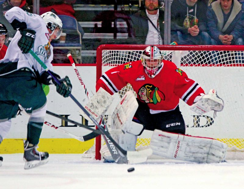by: TRIBUNE PHOTO: JONATHAN HOUSE - Brendan Burke has stepped in this season as the No. 1 goaltender and posted a solid record for the Portland Winterhawks.