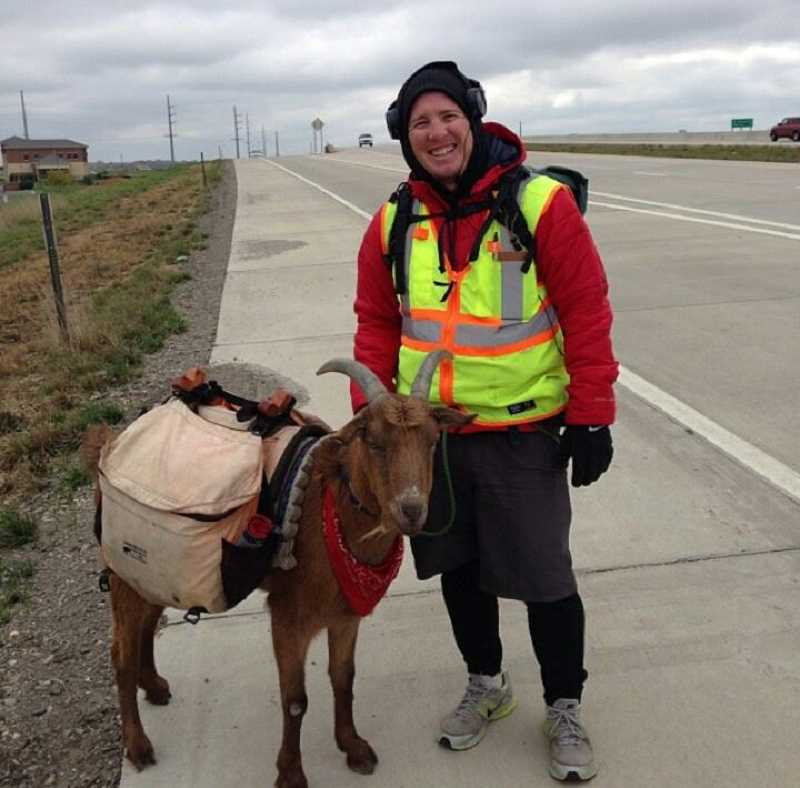 by: PHOTO COURTESY OF STEVE WESCOTT - Steve Wescott adn LeeRoy the goat near Kansas City, Mo., on Jan. 12.