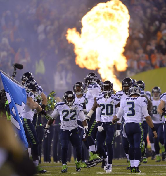 The Seattle Seahawks make their entrance.