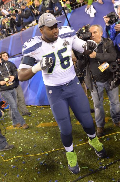 Tackle Russell Okung dances after the Seahawks' big victory.