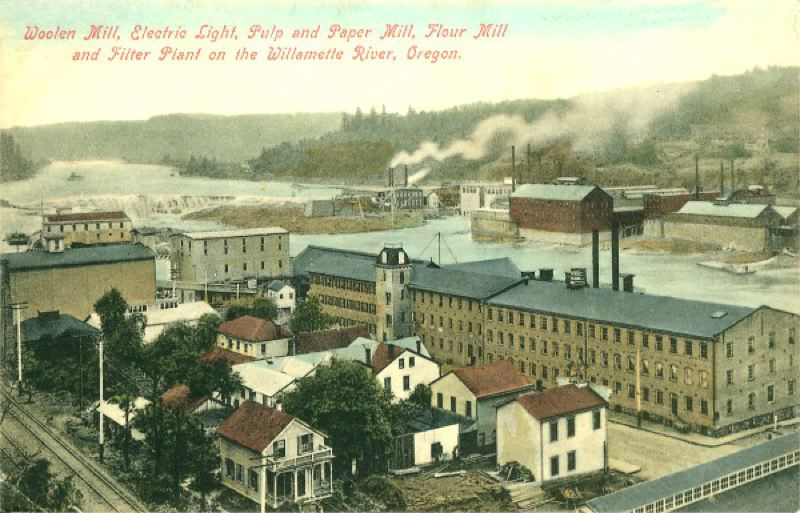by: M. RIEDER, LOS ANGELES, FOR HOWELL & JONES, OREGON CITY - This penny postcard postmarked 1908 shows Imperial Mills, its grain elevator and the flume running between them on the Oregon City side of the Willamette River.