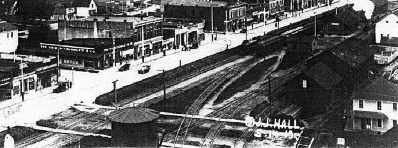 by: SUBMITTED - This view of Downtown Woodburn in 1913 shows that the railroad extended into what is today Young Street.