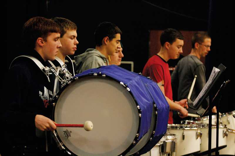 by: PHIL HAWKINS - The JFK drum line (from left), Kyle Kinyon, David Wright, Dalton Susee, Alex Stokley, Kaleb Kinyon and Brent Lang.