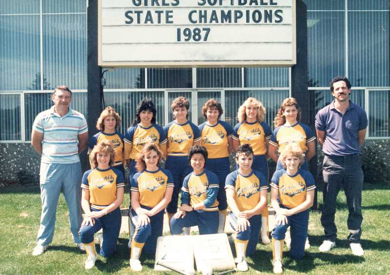 by: COURTESY OF GERVAIS HIGH SCHOOL - Front Row:  Susan Dockins, Caroline Lake, Sara Imel, Norma Rodriguez, Sherry Anderson; Back Row:  Assistant Coach Roger Moore, Becky Tesch, Christina Flores, Lori Shindler, Toni Dockins, Roxie Mueller, Tina Leith, Head Coach Mike Maghan.