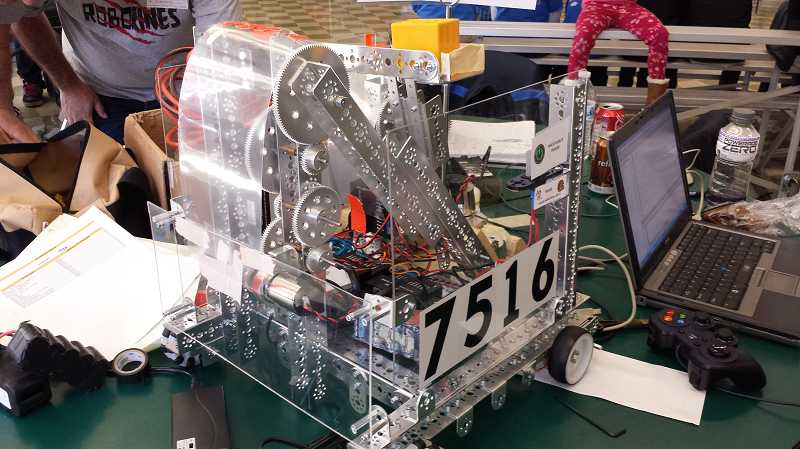 by: SUBMITTED PHOTO - The Roborines, a team of Wood seventh-graders, built this robot and competed with it in a tournament Jan. 25