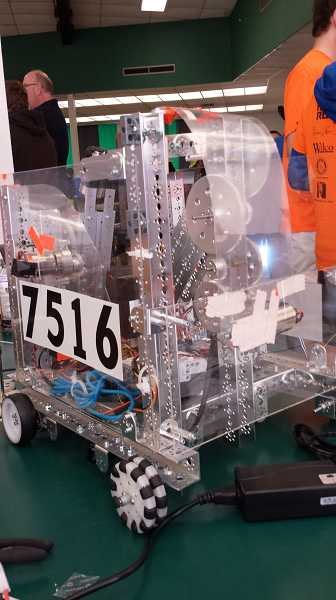by: SUBMITTED PHOTO - Wood's robotics team, the Roborines, built this robot to compete in a FIRST Robotics challenge called Block Party.