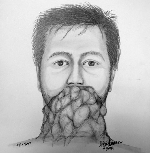 by: PORTLAND POLICE BUREAU - Recent reports indicate the suspected flasher has some type of cloth or boxer shorts covering the lower half of his face, as is shown here in this police sketch.