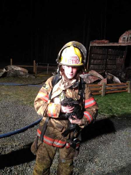 by: COURTESY OF ESTACADA RURAL FIRE DISTRICT NO. 69 - Estacada firefighter, paramedic and apparatus operator Brooke Brown carries a rabbit to safety.