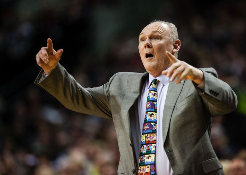 by: TRIBUNE FILE PHOTO: CGRISTOPHER ONSTOTT - George Karl orchestrated a 57-win season in 2012-13 and was NBA coach of the year with the Denver Nuggets, but the club let him go. Now he's an analyst who will work Friday's Portland-Indiana game.