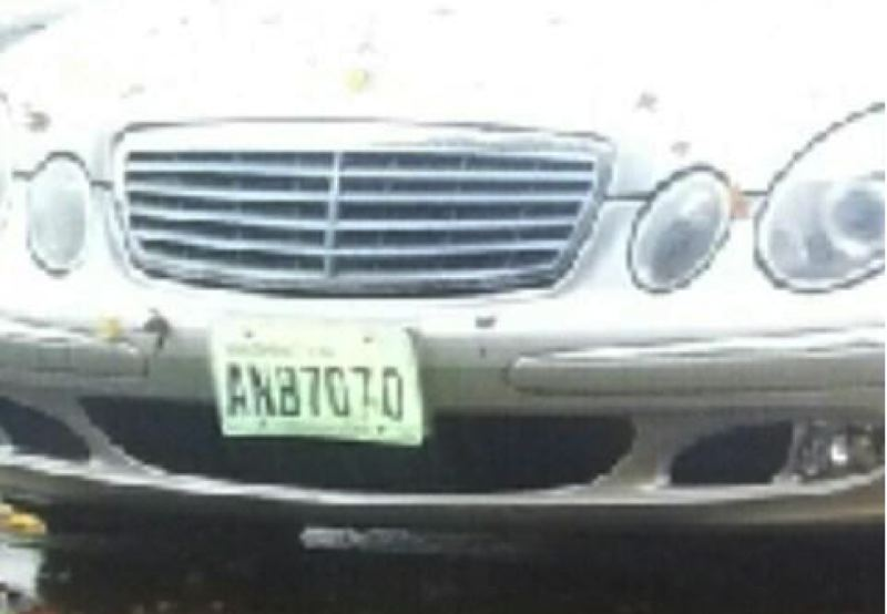 by: CLACKAMAS COUNTY SHERIFF'S OFFICE - The license plate of the car driven by suspect Dirck White.