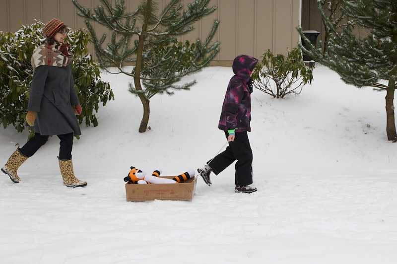 by: TIMES PHOTO: JAIME VALDEZ - Tualatin residents Michelle Jones, Cleome, 9, and 'Hobbes' walk in the snow Friday morning.