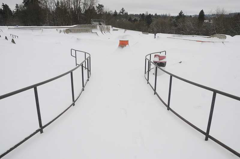 by: GARY ALLEN - No shredders could be seen at the Chehalem Park Skatepark Friday morning as the facility was covered in snow.