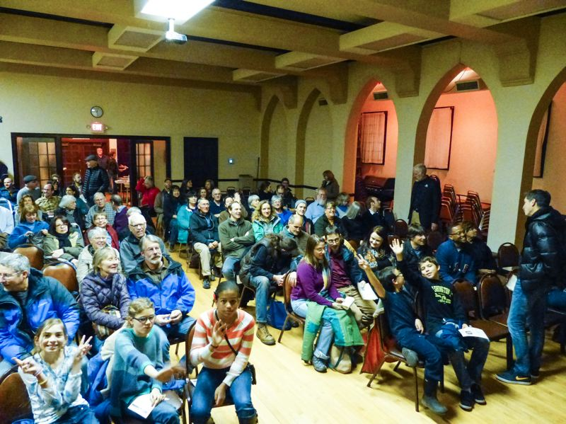 by: PHOTO COURTESY: GREG BAARTZ-BOWMAN - Crowds pack the Milwaukie Masonic Lodge for the third-annual film festival celebrating and encouraging healthy watersheds.