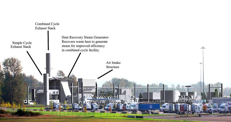 by: CONTRIBUTED PHOTO BY: DEVELOPMENT PARTNERS  - This image demonstrates the design of Troutdale Energy Center with key environmental-protection features included.