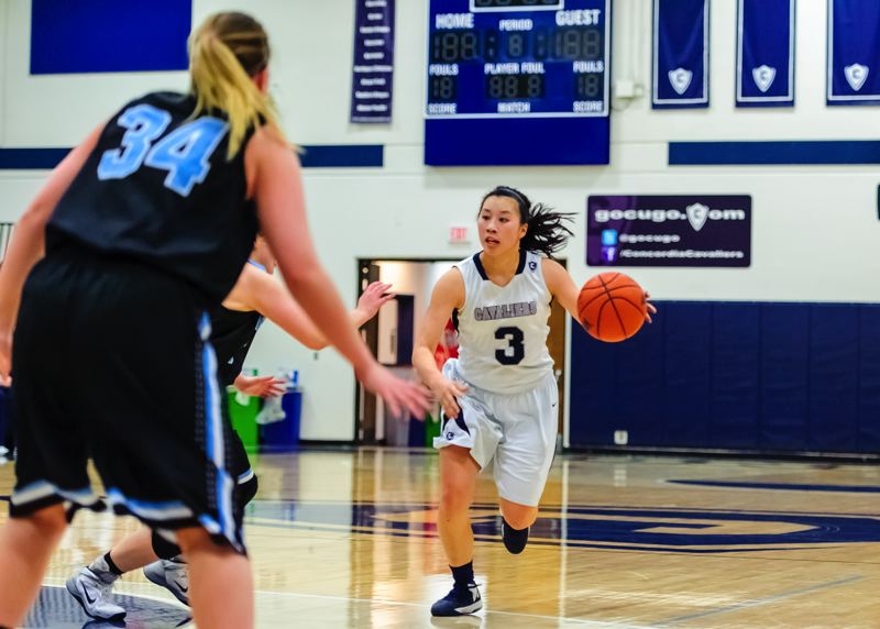 by: COURTESY OF CONCORDIA UNIVERSITY - Kelly Huey scored 18 points Tuesday to lead Concordia to a homecourt victory over Corban.