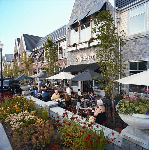 by: SUBMITTED PHOTO - Customers dine outside at Zeppo, a restaurant in Gramor Developments Lake View Village, which would sit near a new proposed development on the Wizer block in downtown Lake Oswego.