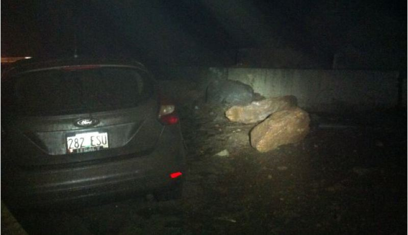 by: CONTRIBUTED PHOTO: OREGON STATE POLICE - The driver of this vehicle was not injured when the car crashed into several large boulders.