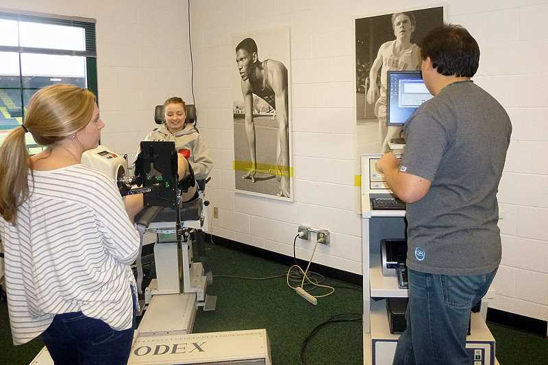 by: CONTRIBUTED PHOTO - Madras senior Cheyenne Duncan undergoes a performance test at the Bowerman Sports Science Center in Eugene during a recent visit by MHS track athletes.