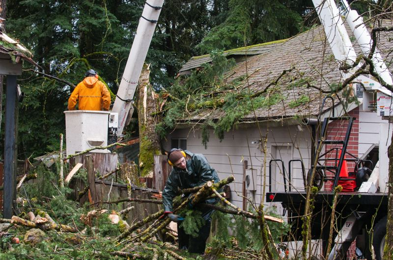 by: SPOKESMAN PHOTO: JOSH KULLA - Crews from Balfor Property Restoration and North Woods Tree Service helped remove the large evergreen that struck this house in Wilsonville early Monday morning.