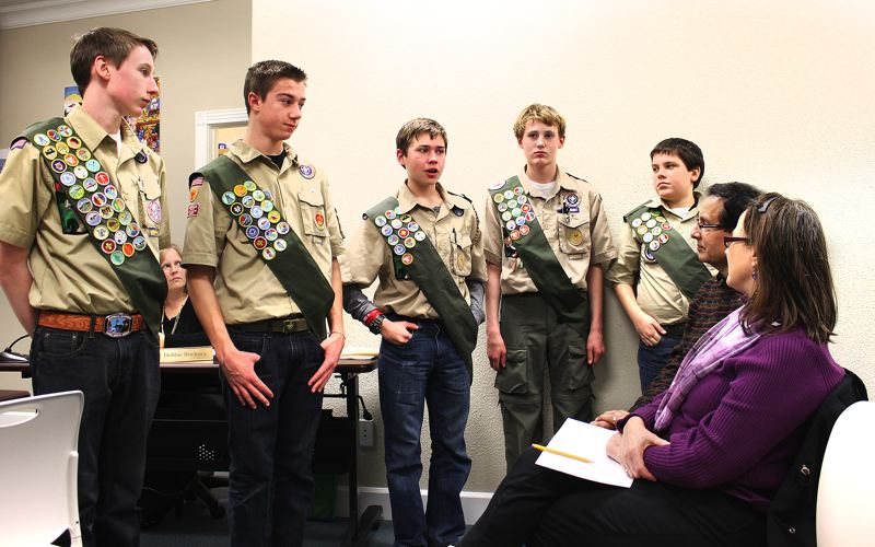 by: OUTLOOK PHOTO: CARI HACHMANN - From left to right: Eagle Scout Jake Dale, Life Scout Colby Montero, Life Scout Kyle Denny, Star Scout Ryan Burch and Star Scout Micah Wilson at the Troutdale City Council meeting on Tuesday, Feb. 11.