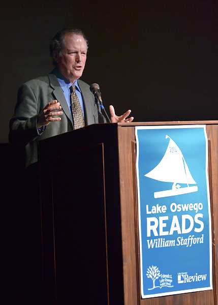 by: VERN UYETAKE - Kim Stafford, son of William Stafford, was the guest speaker Feb. 13 in the Lake Oswego High School auditorium at the dessert and discussion for Lake Oswego Reads.
