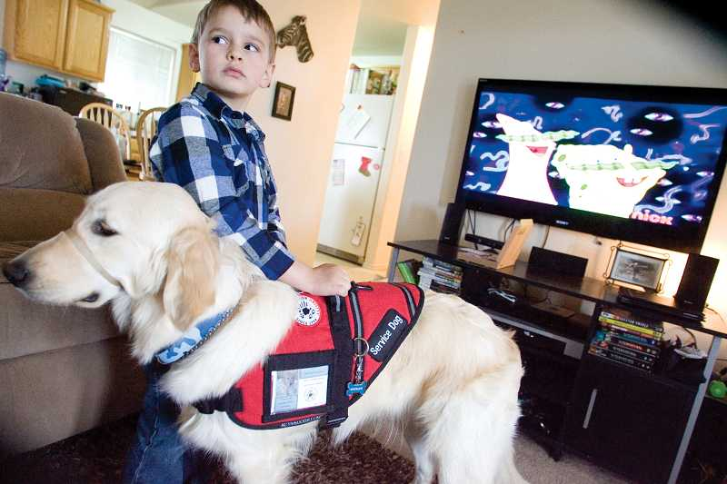by: KEVIN SPERL - Stryder Doescher's service dog, Keebler, provides stability, allowing Stryder to easily stand.