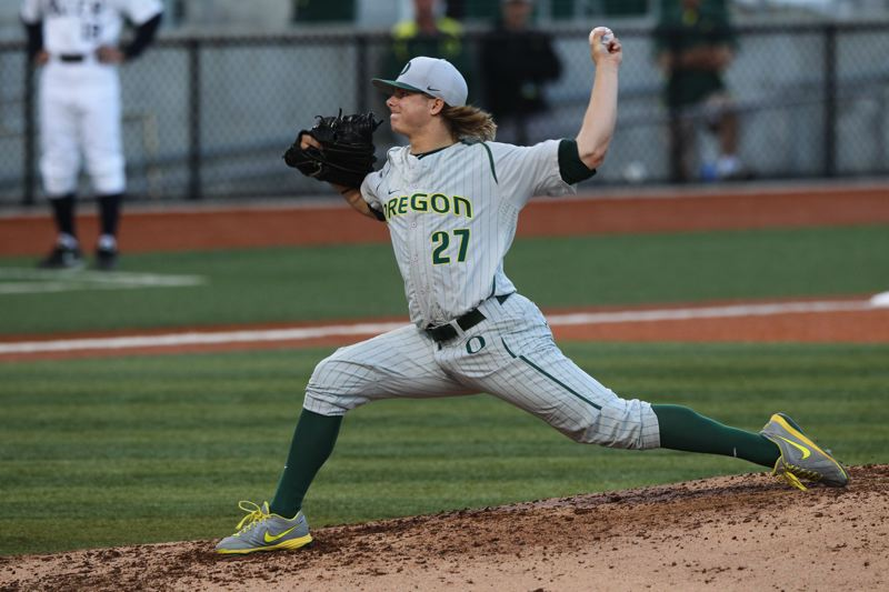 by: COURTESY OF UNIVERSITY OF OREGON - Tommy Thorpe helps lead the Oregon pitching staff as the Ducks welcome the Portland Pilots to PK Park on Tuesday night to open a 15-game, 27-day homestand in Eugene.