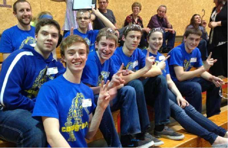 by: SUBMITTED PHOTO - The Canby High School Cougarbots earned several awards at a recent tournament at Junction City. The Cougarbots are: Harrison Gingerich, Austin Adair, Ian Oakes, Madilynn Nissly, Bryce Crispin, Ben Thomas, Steven Morris and Ryan Bigej.