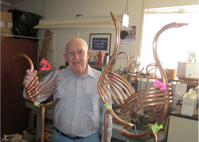 by: BARBARA SHERMAN - CREATIVITY NEVER STOPS - After spending part of his career as a draftsman, Frank Passmore has remained creative, turning to making birds out of copper tubing for garden ornaments and selling them at craft bazaars.