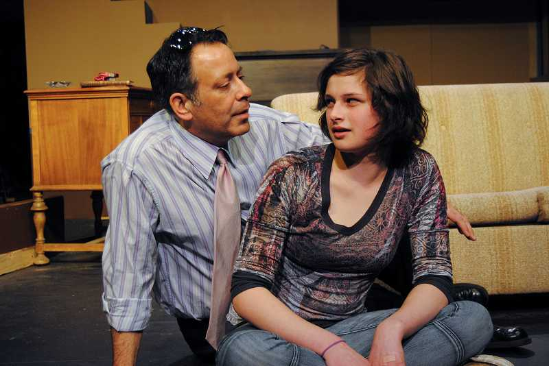 by: COURTESY PHOTO: THEATRE IN THE GROVE - Michael Rouches, the Hillsboro Police Departments public information officer, plays Steve, whos leering at Jean, played by Jeananne Kelsey, in 'August: Osage County.'