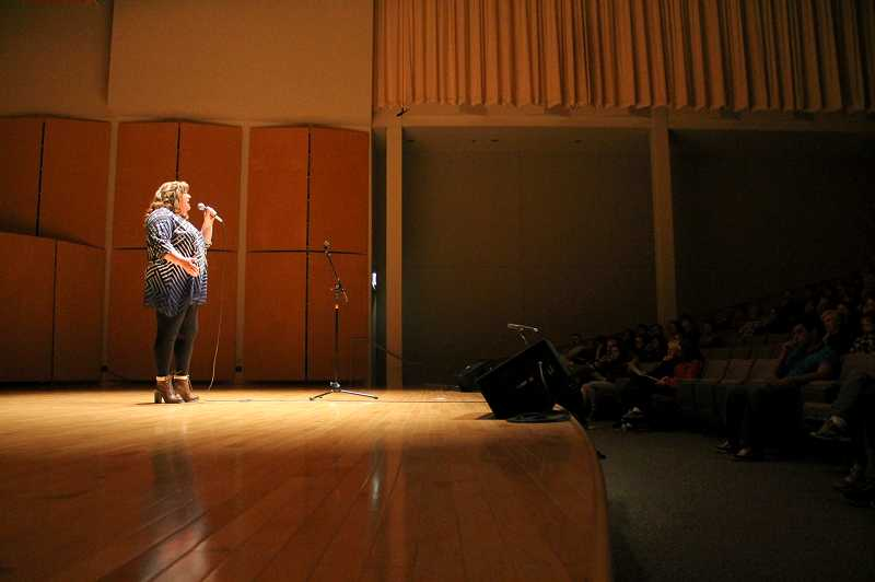 by: NEWS-TIMES PHOTO: JOHN SCHRAG - Lisa Maisel, a nurse who works in the recovery room at Tuality Hospital, belted out 'You Haven't Seen the Last of Me.'