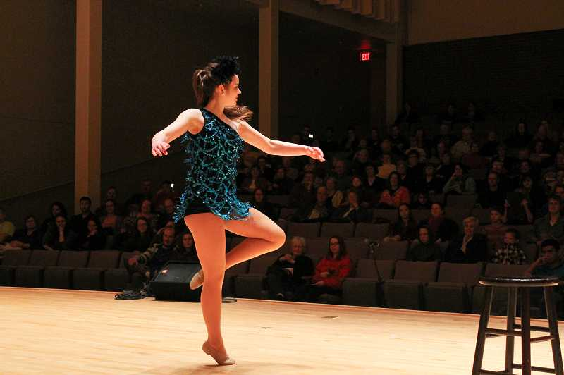 by: NEWS-TIMES PHOTO: JOHN SCHRAG - Hailey New provides the night's only jazz music with her dance routine to 'That Man.'