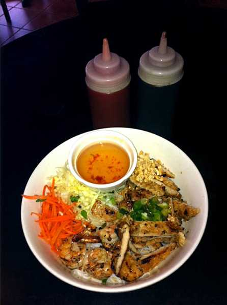 This composed salad is a popular dish at Pho Lavang.
