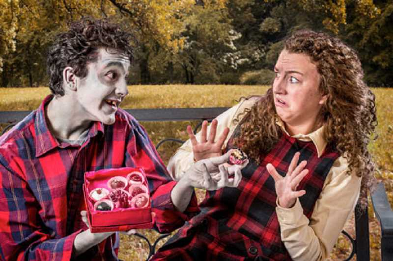 by: SUBMITTED PHOTO - Blake Peebles, as Mortimer, and Madison Wray, as Mildred, star in Oregon Childrens Theatre premiere of Zombie in Love.