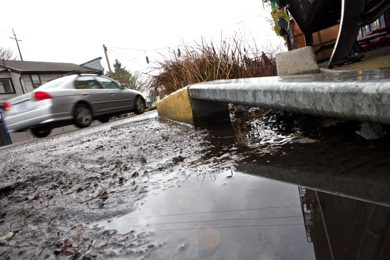 by: TRIBUNE PHOTO: JAIME VALDEZ - Portland State University students found that bioswales, including this one in front of Pambiche restaurant on Northeast Glisan Street, filter out close to 80 percent of the lead and other heavy metals in the water flowing from the streets.
