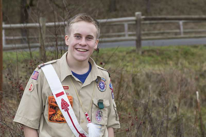 by: SUBMITTED PHOTO - Bennett Sorensen is still striving to establish a tradition of achievement for future Lake Oswego Boy Scouts.