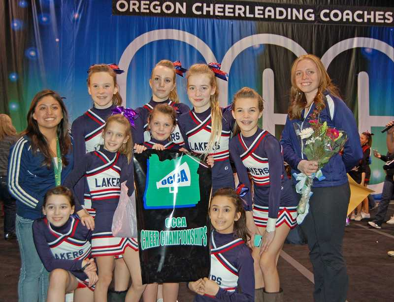 by: SUBMITTED PHOTO - Lake Oswego Junior High girls got fourth place at OCCA. Pictured are, from left: back row: Katelyn Knox, Mackenzie Waterfield, Natalie Turley, Mackenzie Tallman: and front row: Sophia Suhler, Macy Zumbrum, Jackie Loverin and Grace Jacobson as well as Coach Haley Russell, right, and her assistant Claudia Herrera, left. Not pictured is Fiza Sethi.